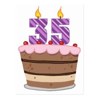 Edad 35 en la torta de cumpleaños tarjetas postales