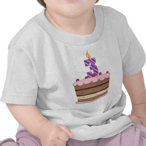 Edad 3 en la torta de cumpleaños camiseta