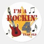 Edad 4 de Rockin Pegatina Redonda