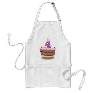 Edad 4 en la torta de cumpleaños delantal