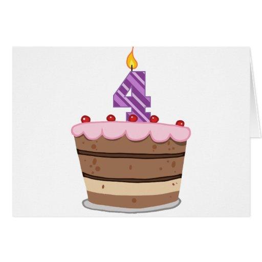 Edad 4 en la torta de cumpleaños tarjeta de felicitación