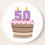 Edad 50 en la torta de cumpleaños posavasos para bebidas