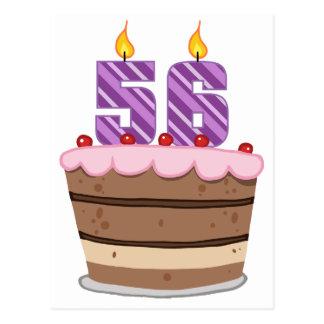 Edad 56 en la torta de cumpleaños postales