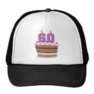 Edad 60 en la torta de cumpleaños gorras