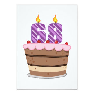 """Edad 68 en la torta de cumpleaños invitación 5"""" x 7"""""""