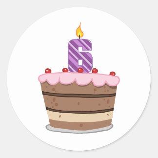 Edad 6 en la torta de cumpleaños etiqueta redonda