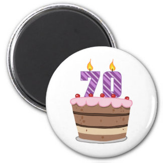 Edad 70 en la torta de cumpleaños imán de frigorifico
