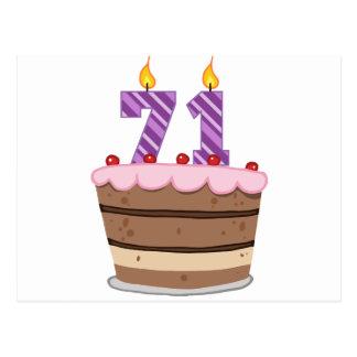 Edad 71 en la torta de cumpleaños postales