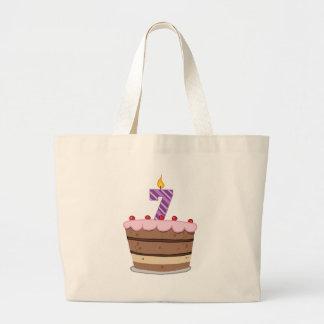 Edad 7 en la torta de cumpleaños bolsa tela grande