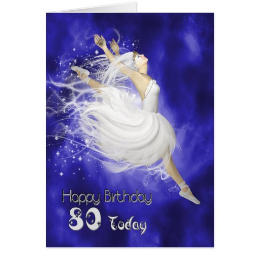 Edad 80, saltando la tarjeta de cumpleaños de la b
