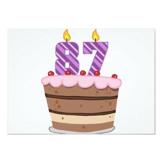 """Edad 87 en la torta de cumpleaños invitación 5"""" x 7"""""""