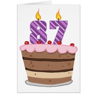 Edad 87 en la torta de cumpleaños tarjeta de felicitación