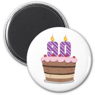Edad 90 en la torta de cumpleaños imán redondo 5 cm