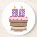 Edad 90 en la torta de cumpleaños posavasos personalizados