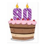 Edad 90 en la torta de cumpleaños tarjeta postal