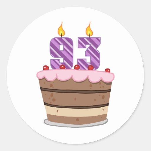Edad 93 en la torta de cumpleaños pegatina redonda