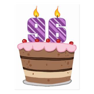 Edad 96 en la torta de cumpleaños postal