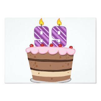 """Edad 99 en la torta de cumpleaños invitación 5"""" x 7"""""""