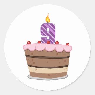 Edad 9 en la torta de cumpleaños pegatina redonda