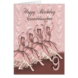 Edad 9, una tarjeta de la nieta de cumpleaños de l