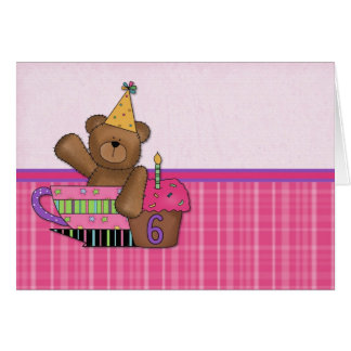 Edad adaptable 6 de la tarjeta del oso del cumplea