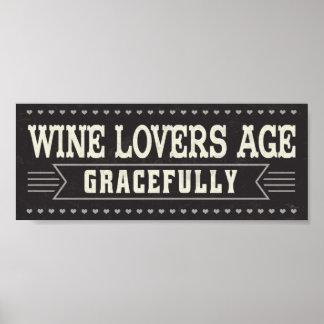 Edad de los amantes del vino agraciado póster