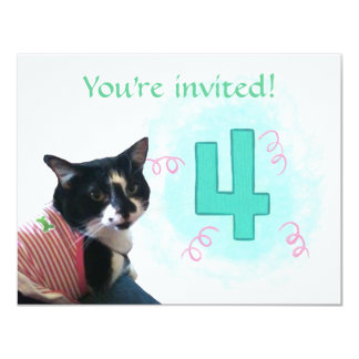 """Edad del gato del smoking cuatro invitaciones de invitación 4.25"""" x 5.5"""""""
