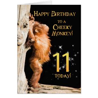 Edad fresca 11 del mono tarjeta de felicitación