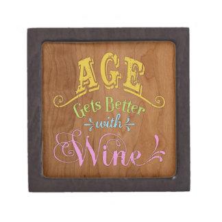 Edad mejor con el vino caja de regalo de calidad