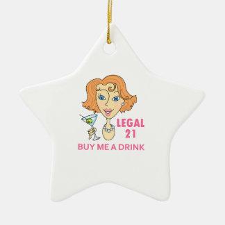 Edad mínima para consumir alcohol legal adorno navideño de cerámica en forma de estrella