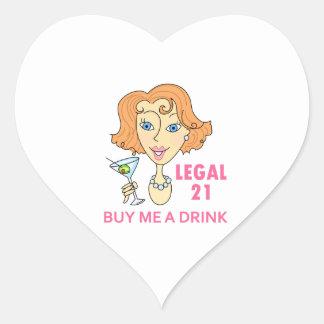 Edad mínima para consumir alcohol legal pegatina en forma de corazón