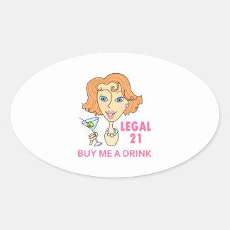 Edad mínima para consumir alcohol legal pegatina ovalada