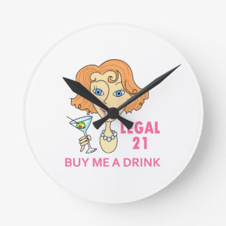 Edad mínima para consumir alcohol legal reloj redondo mediano