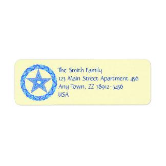 Edad pagana de Wicca del símbolo azul del Etiqueta De Remitente