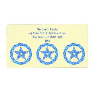 Edad pagana de Wicca del símbolo azul del Etiquetas De Envío