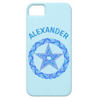 Edad pagana de Wicca del símbolo azul del iPhone 5 Case-Mate Carcasas