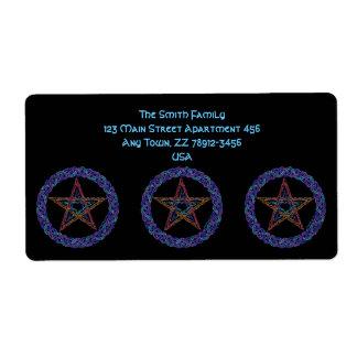 Edad pagana de Wicca del símbolo colorido del Etiquetas De Envío