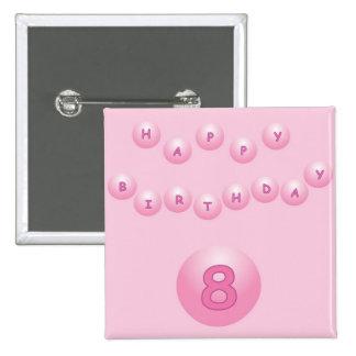 Edad rosada 8 de las bolas del cumpleaños pin