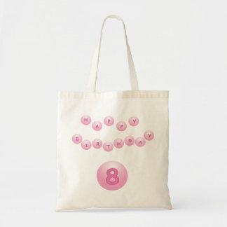 Edad rosada 8 de las bolas del feliz cumpleaños bolsa tela barata