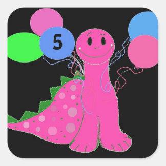 Edad rosada del personalizable del cumpleaños del  calcomanías cuadradass