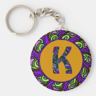 """Edart Design """" K """" Basic Round Button Keychain"""