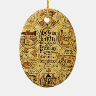 Edda Norse Mythology Double-Sided Oval Ceramic Christmas Ornament