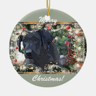 Eddie-Black Lab Christmas Ornament