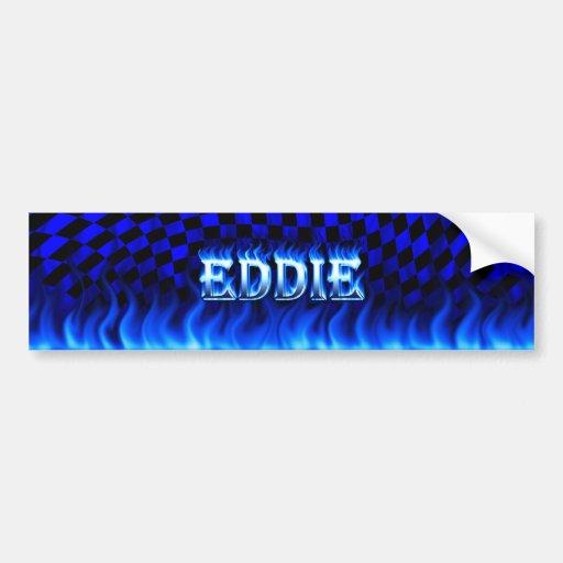 Eddie blue fire and flames bumper sticker design. car bumper sticker
