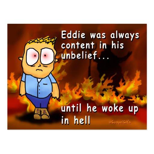 Eddie despierta en infierno tarjeta postal
