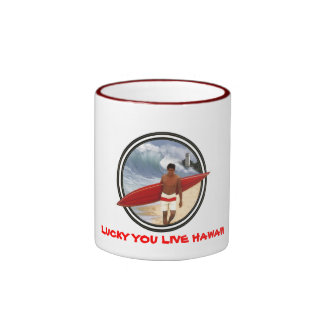 EDDIE LUCKY YOU LIVE HAWAII RINGER COFFEE MUG