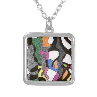 Eddie Price Anthropomorphic Square Pendant Necklace