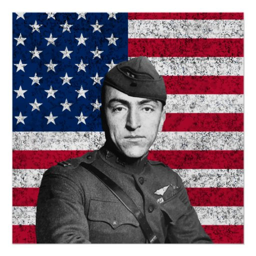 Eddie Rickenbacker and The Flag Print