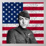 Eddie Rickenbacker y la bandera americana Poster