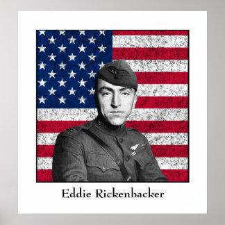 Eddie Rickenbacker y la bandera americana Póster